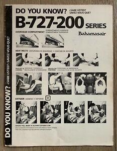 BAHAMASAIR BOEING 727-200 SAFETY CARD 9/86