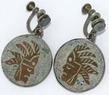 & Copper Aztec Warrier Screwbac Earrings Signed Mb Vtg Taxco Mexico 950 Sterling