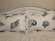 Harbor House Shell Nautical Beach Theme Blue & White Pillow Sham 2pc Set 22x30