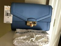 Michael Kors Kinsley leather Medium shoulder Flap Crossbody French Blue