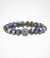 EXPRESS Multicolor Hematite Faceted Beaded Bracelet Rhinestone Sphere Bead NEW