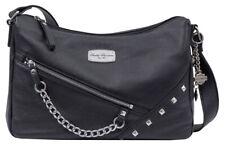 Harley-Davidson Women's Chain Gang Leather Shoulder Bag, Black CG2384L-BLK