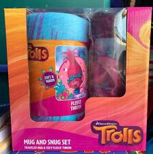 DreamWorks Trolls Movie Poppy Traveler Mug & Snug Fleece Blanket Set NEW