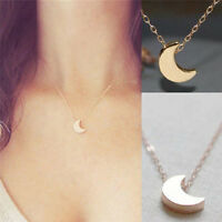 Fashion Women Gold Silver Crescent Moon Charm Pendant Chain Necklace Jewelry