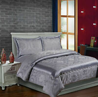 3 pcs Jacquard Quilted Bedspread Comforter Set Throw Double and King Grey Cream