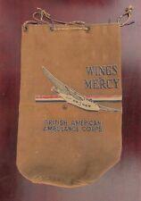 WW2 Era Wings of Mercy British American Ambulance Corps Canvas Flight Bag  WWII