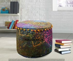 Indian Psychedelic 22'' Cushion Cover Boho Mandala Footstools Handmade Ottomans