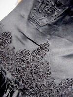 ANTIQUE / VINTAGE BLACK SATIN HAND EMBROIDERED APRON - DOWNTOWN ABBEY STYLE