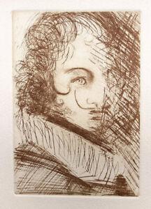 Salvador DALI Self Portrait As Harlequin Etching 14 x 11-1/4