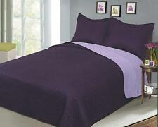 Luxury Fashionable Reversible Full/Queen Solid Color Bedding Quilt Set, Plum