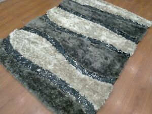 5'6x 7'6 Rug | Handmade Hand Knotted Polyester Gray  Area Rug