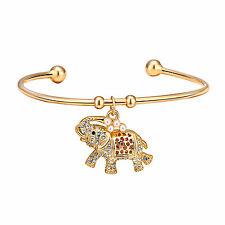Gold Elephant Cuff Bangle With Crystals From Swarovski