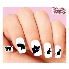 Waterslide Nail Decals Set of 20 - Black Kitty Cat Silhouette Assorted