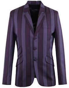 NEW RETRO MENS MOD 60s STRIPE Striped BOATING BLAZER JACKET Purple Offbeat MC393