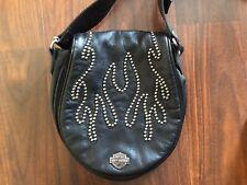 Harley Davidson Studded Flame Small Black Leather Shoulder Purse Handbag