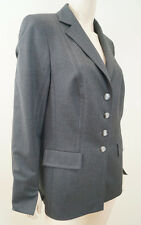 ESCADA Carbón Gris Lana Abrigo Chaqueta Blazer Formal forrado de estiramiento talla:40; UK12