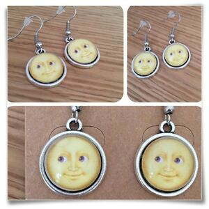 Emoji Moon Face grin Eyes Smile YELLOW  mini EARRINGS