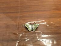 Vintage Sterling Silver 925S Enamel Butterfly Pin Norway White & Green 2.55 Gram