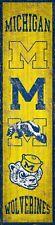 "Michigan Wolverines Heritage Banner Retro Logo Wood Sign 6"" x 24"" Wall Decor"