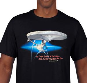 Star Trek - TOS - Captain Kirk USS Enterprise - 100% Cotton T-Shirt - Kirk/Spock