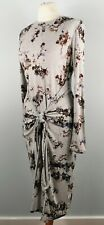 M&S Size 12 Long Sleeve Knot Front Midi Dress Abstract Winter NEW BNWT £59