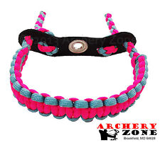 Neon Pink and Turquoise  Bow Paracord Wrist Sling Strap Archery W/ Leather