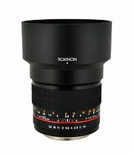 NEW Rokinon 85mm F1.4 TELEPHOTO LENS for Fuji X CANON NIKON etc LENS HOOD & CASE