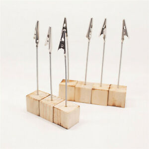 Wood Photo Metal Alligator Clip Memo 10pcs DIY Wires Picture Holder Table Stand