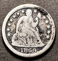 1850 O Seated Liberty Dime 10c Rare Large O Variety Semi Key Low Mintage Date