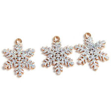 10x Gold Plated Powder Glitter Snowflake Shape Charms Alloy Pendant Handcraft D