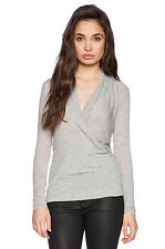 VELVET By Graham & Spencer Autumn Gauze Fairy Crossover Drape Top Grey S $108