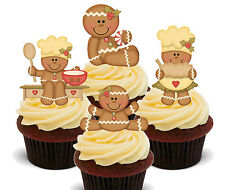 Gingerbread Edible Cup Cake Toppers, Stand-up Decorations Christmas Baking Fairy