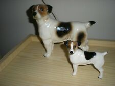 """Pair Of Coopercraft China Jack Russel Terriers """"Father & Son"""" Mint Condition."""