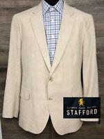 NWT Stafford Men's Linen Cotton Beige 2-Button Blazer Sport Coat Jacket NEW 46L