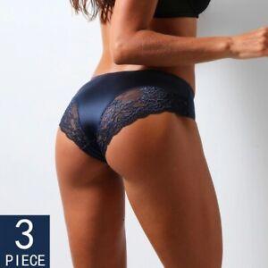 Sexy  3 Pack Floral Briefs Underwear Lingerie Back Bow Panties Women's  Thong La