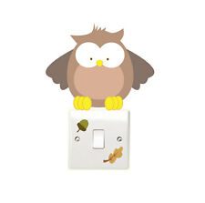 Woodland Owl 3pcs Light Switch Wall Sticker Children's Bedroom Playroom Fun