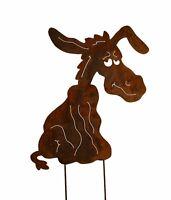 Edelrost Esel zum stecken Gartendeko Metall Rost