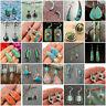 Handmade 925 Silver Turquoise Ear Hook Clip Earrings Wedding Women Jewelry Gift
