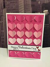 """Stampin Up """"Happy Valentine's Day"""" Ombre Pink Hearts Handmade Card Kit (4 Cards)"""