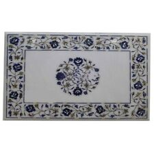 "18""x36"" White Marble Inlay Dining Table Top Home Decor"