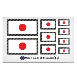 9X Japan flags Carbon outline Laminated Decal Sticker High quality sticker set