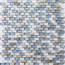1 SQ M White Brown Blue Silver Stone Glass Mix Mosaic Wall Tiles Bathroom MT0125