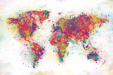 MAP OF THE WORLD COLOUR SPLASH ARTIST PAINT STYLE 91.5 X 61CM MAXI POSTER