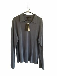 Kenneth Cole Mens Polo Shirt Gray Stripe 100% Cotton Long Sleeve Pullover L New