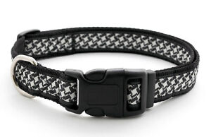 Douglas Paquette HOUNDSTOOTH Nylon Ribbon Adjustable Dog Collar, Harness, Lead