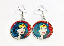 DC Comics Inspired Round Glittery Wonder Woman Character Dangle Hook Earrings