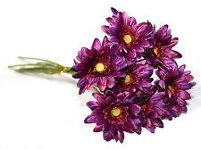 Artificial Silk Flowers 7 x Purple  Gerbera Flower Stems Bunch Arrangement 47cm.