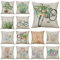 18'' Plant Pattern Pillow Case Cotton Linen Sofa Waist Cushion Cover Home Decor