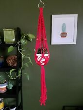 "Vintage Macrame Plant Hanger Plant Pot Holder Patio Boho Style Red 40"" long"
