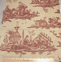 "Antique French 19thC Personage Toile & Country Motif Linen Fabric~L-22""X W-14"""